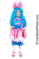 menina, pequeno, cabelo, azul