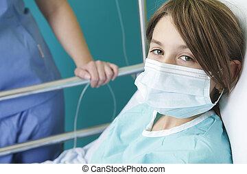 menina, pequeno, cama hospital, enfermeira