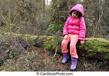 menina, pequeno, chuva, perdido, floresta