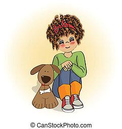 menina, pequeno, dela, cacheados, cão