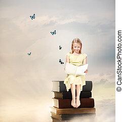 menina, pequeno, livro, loiro, leitura