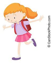 menina, pequeno, mochila, dela, costas