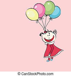 menina, pequeno, voando, balões, feliz