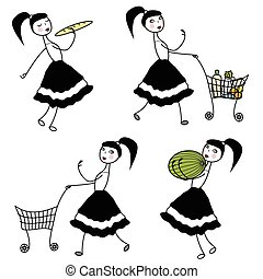 menina, personagem, comprando alimento