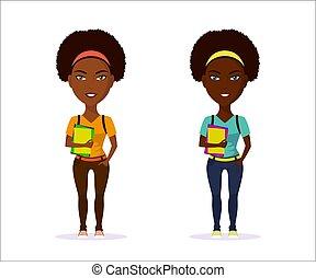 menina, personagem, estudante