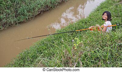 menina, pesca