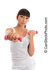 menina, pesos, mão, condicão física