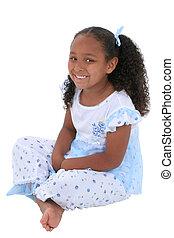 menina, pijamas, criança