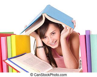 menina, pilha, colorido, book.