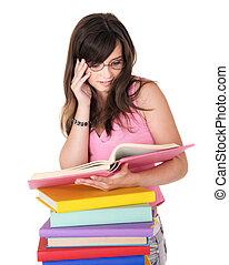 menina, pilha livro, colorido