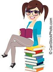 menina, pilha livro, estudante