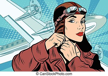 menina, piloto, prepara, para, partida