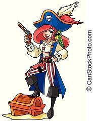 menina, pirata, ilustração