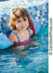 menina, piscina, armlets