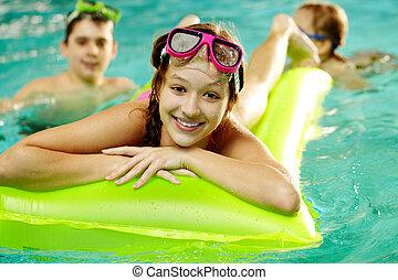 menina, piscina