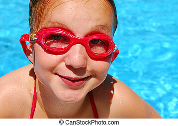 menina, piscina, criança