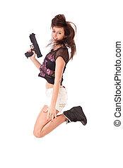 menina, pistola, pular