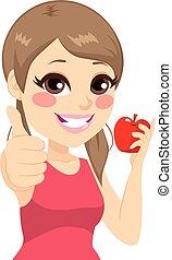 menina, polegar cima, maçã