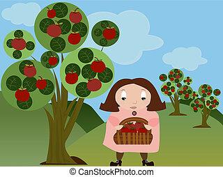 menina, pomar maçã