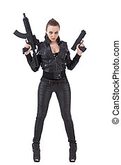menina, posar, armas
