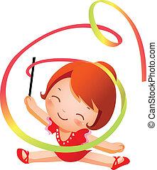 menina, prática, rítmico, ginasta, pe