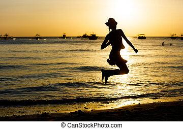 menina, praia, a, alvorada, tempo