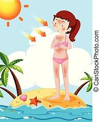 menina, praia, bronzeado