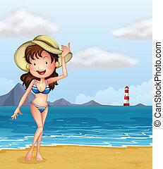 menina, praia, excitado