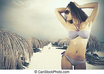 menina, praia