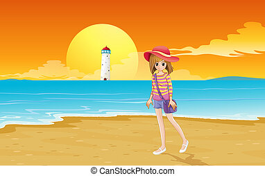 menina, praia, jovem, na moda