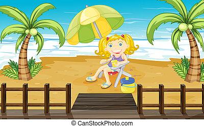 menina, praia, jovem, relaxante