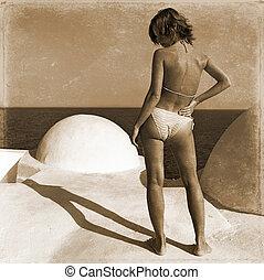 menina, praia, plataformas,  retro
