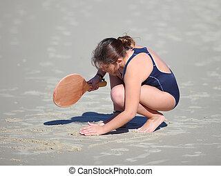 menina, praia, raquetes