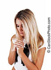 menina, praying., loura