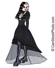 menina preta, gótico, vestido