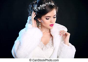menina preta, makeup., moda, hairstyle., bonito, isolado, pele, retrato, branca, jewelry., mulher, inverno, luxo, glamour, coat., jovem, experiência.