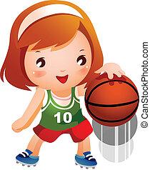 menina, pular, basquetebol