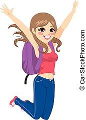 menina, pular, estudante