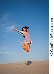 menina, pular, pôr do sol, jovem