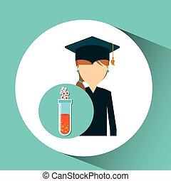 menina, química, desenho, estudante, graduado