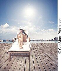 menina, relaxante, ligado, um, praia