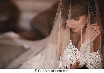 menina, retrato, cima., noiva, dress., beleza, casamento branco, vestido, girl., mulher, fazer, bonito, luxo, moda, manicured, nails., jewelry.