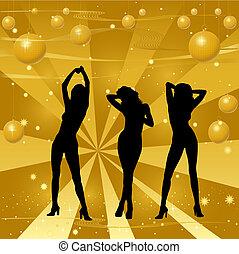 menina, retro, fundo, dançar