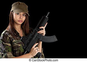 menina, rifle, bonito