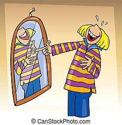 menina, rir, para, espelho