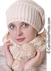 menina, roupa, inverno, caucasiano