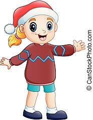 menina, roupas, inverno, caricatura, feliz