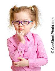 menina séria, em, óculos, isolado, branco