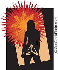 menina, símbolo, abstratos, fundo, silueta