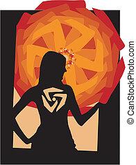 menina, símbolo, silueta, abstratos, fundo